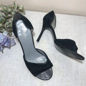 BCBGirls Pin Up Peep Toe Heels Black Suede 9 B